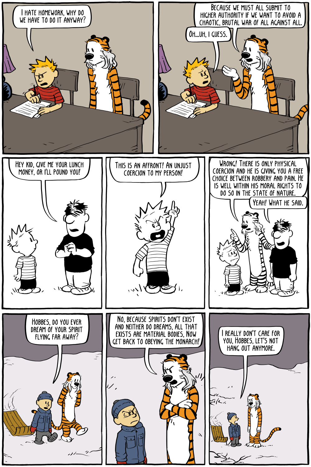 "Calvin: ""I hate homework, why do we have to do it anyway?""