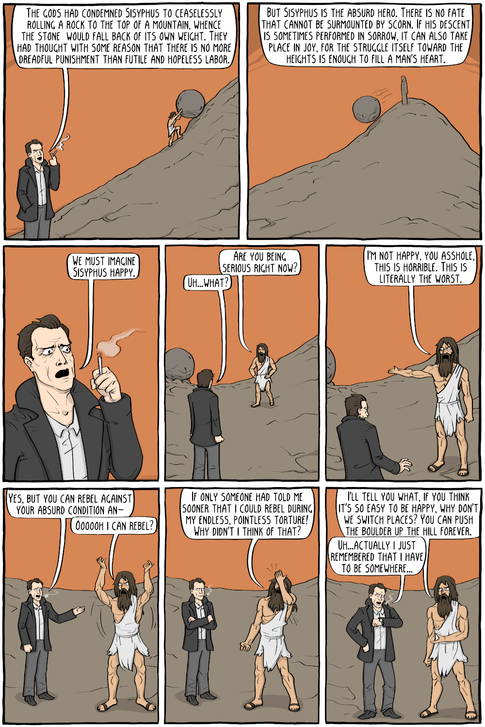 We Must Imagine Sisyphus as having Met Camus - Existential Comics