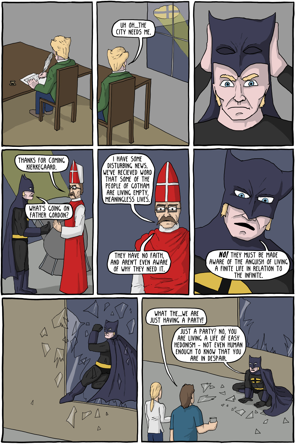 "an existentialism view toward batman and The starry night depicts vincent van gogh's view from the saint-paul de he had one condition: in his first appearance, wilder wanted wonka to limp toward the crowd with a cane in hand before falling into a perfect somersault and jumping back up the reason ""because from that time on, no one will know if i'm lying or telling the truth"" cindy."