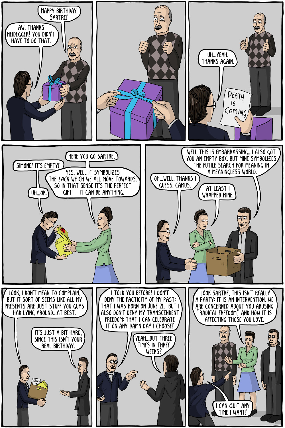 Existential birthday existential comics existential birthday sartre stopped inviting kierkegaard because kierkegaard kept giving him crosses and trying to get him kristyandbryce Images
