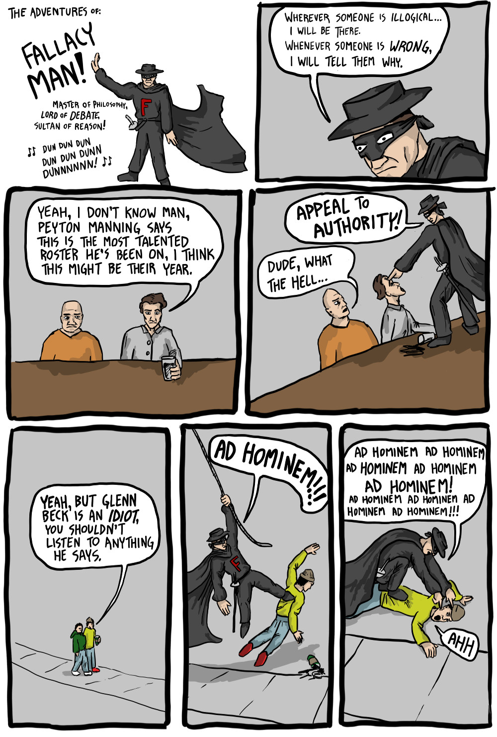 The Adventures Of Fallacy Man Existential Comics
