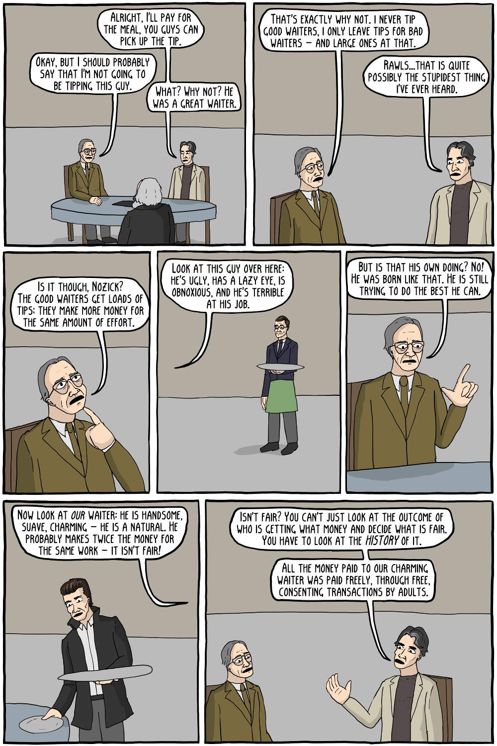 In which John Rawls is a bad tipper. - Existential Comics