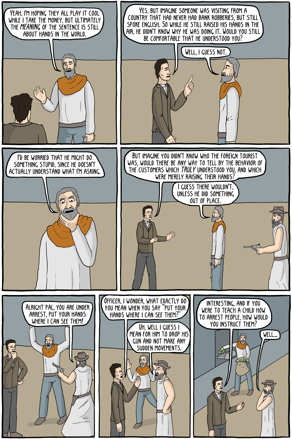 A robbery at the Wittgenstein Bank - Existential Comics